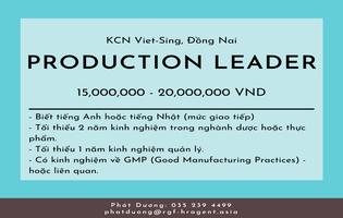 Production Leader - Pharmaceuical (dược phẩm)