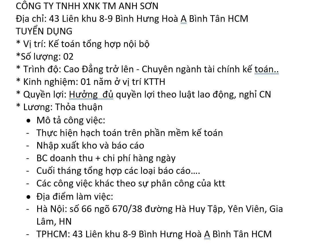 Ke toan tong hop Noi Bo